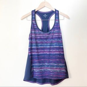 athleta | purple striped running tank small
